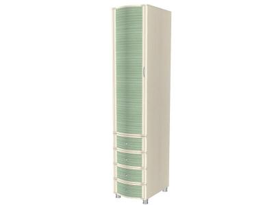 ШК-954 Шкаф многоцелевой 2172х448х620 Дуб Беленый с зелеными вставками