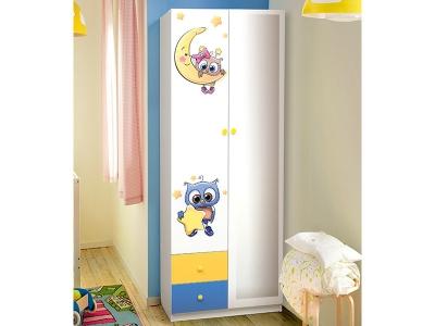 Шкаф 2-х дверный с ящиками и зеркалом Совята 2.1