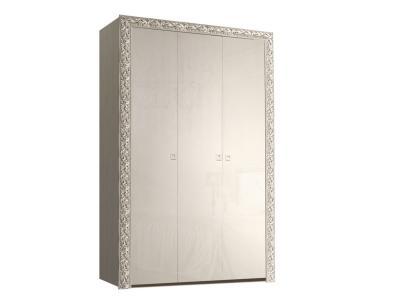 Шкаф 3-х дверный для платья и белья без зеркал ТФШ2/3(П) Тиффани Премиум Слоновая кость серебро