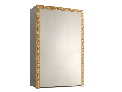 Шкаф 3-х дверный для платья и белья без зеркал ТФШ2/3(П) Тиффани Премиум Слоновая кость золото
