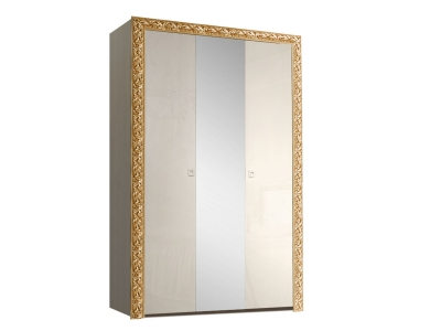 Шкаф 3-х дверный для платья и белья с зеркалом ТФШ1/3(П) Тиффани Премиум Слоновая кость золото