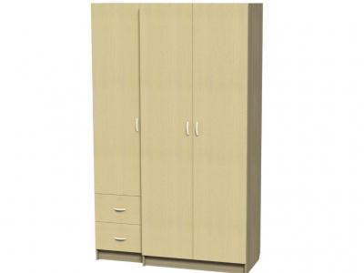 Шкаф 3-х дверный с 2-мя ящиками Афродита МДФ 2215х1350х550