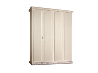 Шкаф 4-х дверный без зеркал для платья и белья ТФШ2/4 Тиффани Штрих серебро