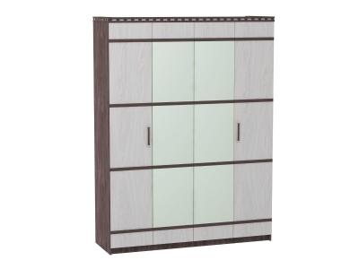 Шкаф 4-х дверный для одежды и белья Ольга 13 ясень анкор темный-светлый