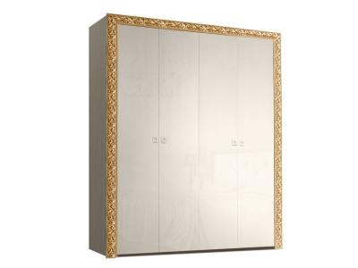 Шкаф 4-х дверный для платья и белья без зеркал ТФШ2/4(П) Тиффани Премиум Слоновая кость золото