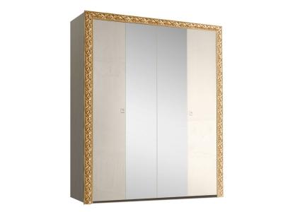Шкаф 4-х дверный для платья и белья с зеркалами ТФШ1/4(П) Тиффани Премиум Слоновая кость золото