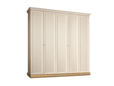 Шкаф 5-ти дверный без зеркал для платья и белья ТФШ2/5 Тиффани Штрих золото