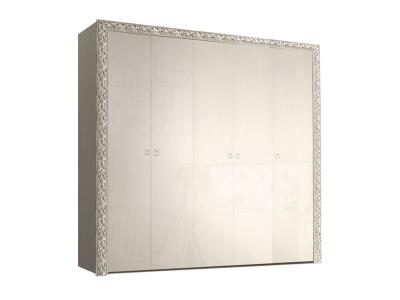 Шкаф 5-ти дверный для платья и белья без зеркал ТФШ2/5(П) Тиффани Премиум Слоновая кость серебро