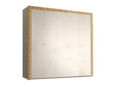 Шкаф 5-ти дверный для платья и белья без зеркал ТФШ2/5(П) Тиффани Премиум Слоновая кость золото
