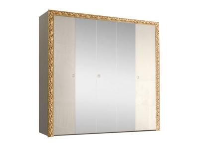Шкаф 5-ти дверный для платья и белья с зеркалами ТФШ1/5(П) Тиффани Премиум Слоновая кость золото