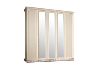 Шкаф 5-ти дверный с зеркалами для платья и белья ТФШ1/5 Тиффани Штрих серебро