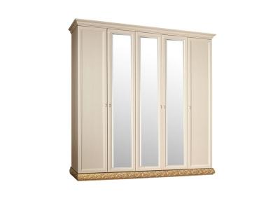 Шкаф 5-ти дверный с зеркалами для платья и белья ТФШ1/5 Тиффани Штрих золото