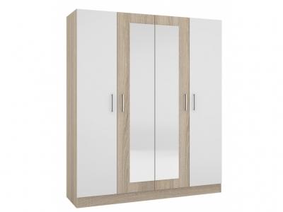 Шкаф четырехстворчатый Уют-1 Сонома-Белый