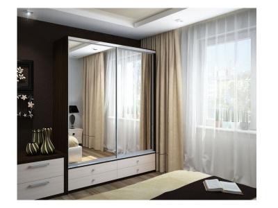 Шкаф-купе Ольга с двумя зеркалами венге дуб