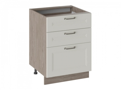 Шкаф напольный с 3 ящиками Н3Я(Т)_72-60_3Я Одри Бежевый шелк