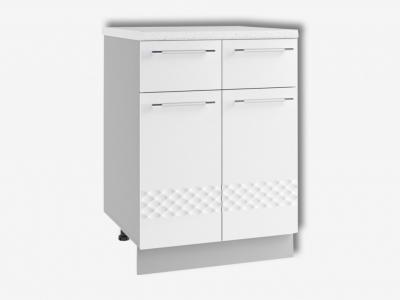 Шкаф нижний 600мм с 2мя ящ и 2мя дв С2Я 850х600мм МДФ белый Капля