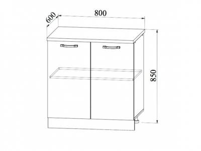 Шкаф нижний 800мм стол рабочий С 850х800мм МДФ сандал б/столешницы Империя