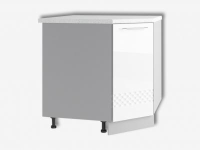Шкаф нижний 850мм угловой левый СУ 850х850мм МДФ белый Капля