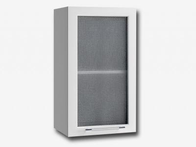 Шкаф верхний 400мм со стеклом ПС 700х400мм МДФ белый Капля