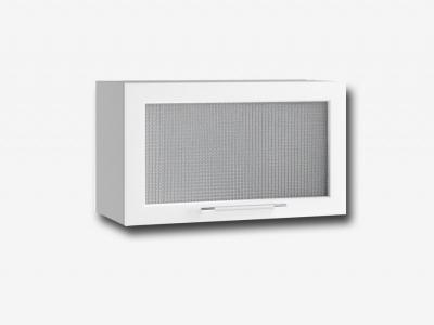 Шкаф верхний 600мм горизонтальный со стеклом ПГС 350х600мм МДФ белый Капля