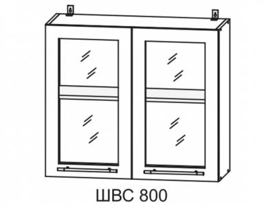 Шкаф верхний 800мм со стеклом ПС 700х800мм МДФ сандал Империя