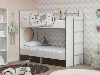 Двухъярусная кровать Умка с ящиками и одним бортиком Карта венге