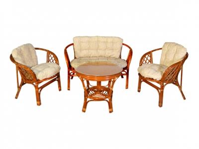 Комплект Багама с диваном коньяк подушки светлые