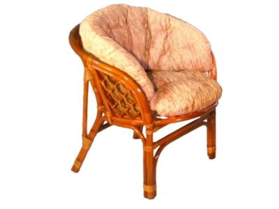 Кресло Багама коньяк со светлой полной подушкой