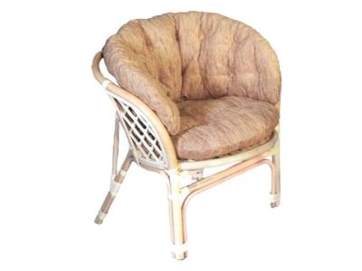 Кресло Багама натуральный со светлой полной подушкой