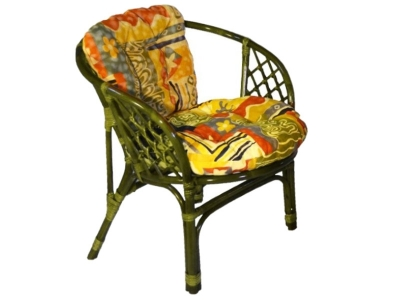 Кресло Багама олива с цветной подушкой