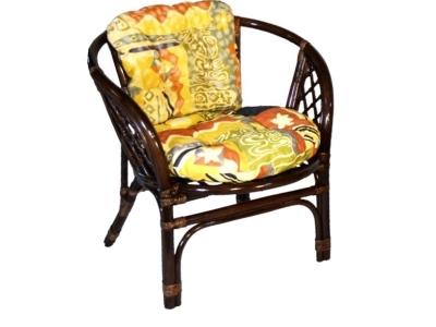 Кресло Багама темно-коричневый с цветной подушкой