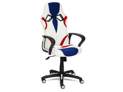Кресло Runner кож.зам + ткань Белый + Синий + Красный (36-01/10/08)