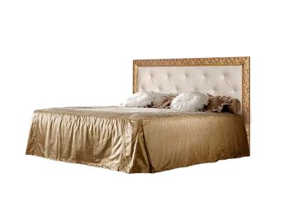 Кровать 1,6 м с мягким элементом со стразами с ПМ ТФКР-2[3][7](П) Тиффани Премиум Слоновая кость золото