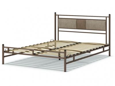 Кровать 160 Мелина металлическая Венге - Рогожка