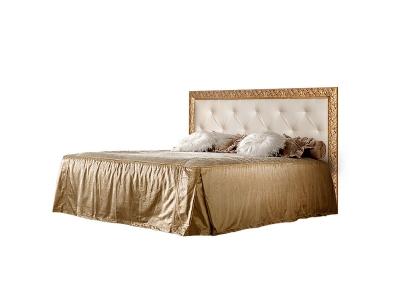 Кровать 2-х спальная 1,4 м с мягким элементом со стразами ТФКР140-2[7] Тиффани Штрих золото