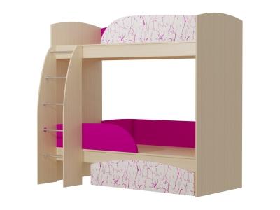 Кровать 2-х ярусная Омега 4 МДФ млечный дуб-фуксия-арт фуксия