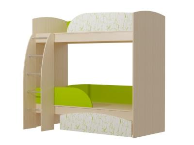 Кровать 2-х ярусная Омега 4 МДФ млечный дуб-лайм-арт лайм