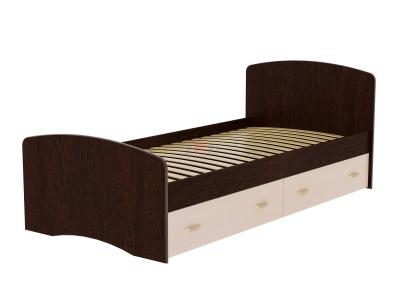 Кровать-6 одинарная с 2-мя ящиками Фант венге-млечный дуб