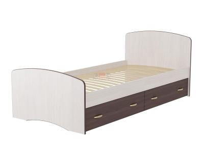 Кровать-6 одинарная с 2-мя ящиками Фант ясень анкор темный-ясень анкор светлый
