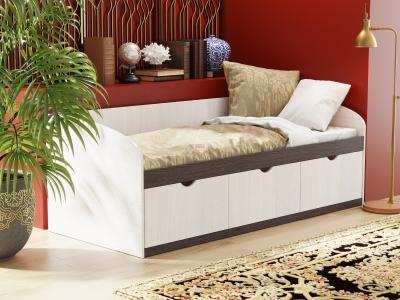 Кровать-8 одинарная с 3-мя ящиками ЛДСП ясень анкор темный-ясень анкор светлый