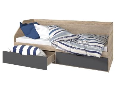 Кровать 800 2 ящика Анталия Графит