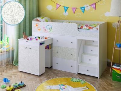 Кровать-чердак Малыш белая фасад для рисования феритейл
