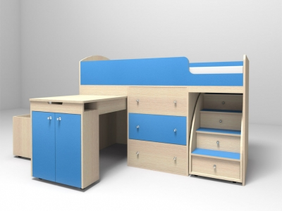 Кровать-чердак Малыш дуб-голубой