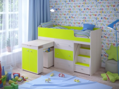 Кровать-чердак Малыш дуб-лайм