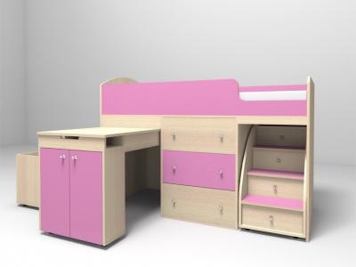 Кровать-чердак Малыш дуб-розовый