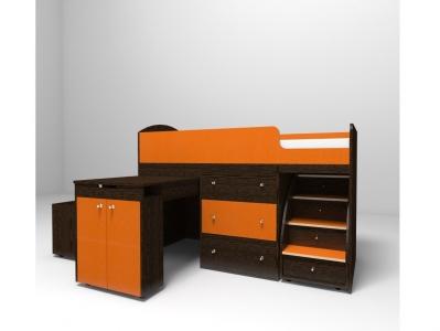 Кровать-чердак Малыш венге оранж