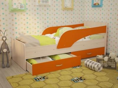 Кровать детская Антошка дуб-оранж