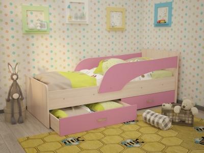 Кровать детская Антошка дуб-розовый