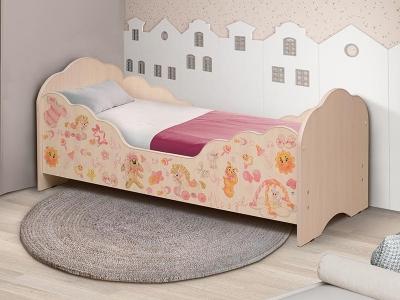 Кровать детская с бортом Малышка №4 дуб млечный с фотопечатью