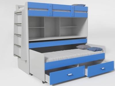 Кровать двухъярусная №2 с ящиком синяя